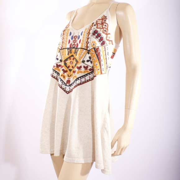 f6374dfd Zara Dresses | Knit Tunic Embroidered Beaded Boho Dress | Poshmark